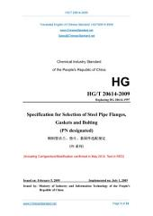 HG/T 20614-2009: Translated English of Chinese Standard. (HGT 20614-2009, HG/T20614-2009, HGT20614-2009): Specification for selection of Steel Pipe Flanges, Gaskets and Bolting (PN designated)