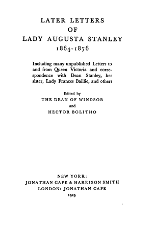 Later Letters of Lady Augusta Stanley  1864 1876