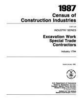 1987 Census of Construction Industries: Industry series, Volumes 21-28