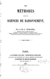 Des Méthodes dans les sciences de raisonnement: Volumes11à21
