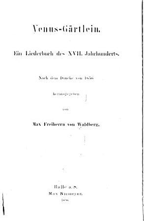 Neudrucke Deutscher Literaturwerke Des 16  und 17  Jahrhunderts PDF