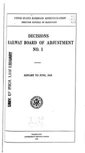 Decisions Railway Board of Adjustment: Issue 1