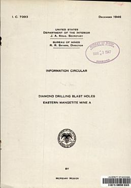 Diamond drilling Blast Holes  Eastern Magnetite Mine A PDF
