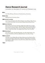 Dance Research Journal PDF