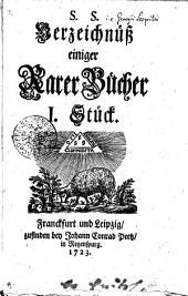 S.S. Verzeichnüß einiger Rarer Bücher: I. Stück