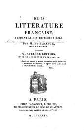 De la littérature française, pendant de dix-huitième siècle
