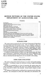 Motion pictures of the United States Department of Agriculture, 1949