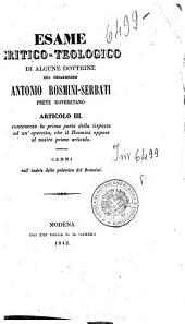 Esame critico-teologico di alcune dottrine del chiarissimo Antonio-Rosmini-Serbati, prete roveretano: 3: Articolo 3