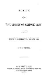 Notice of the Two Masses of Meteoric Iron Brought from Tucson to San Francisco, 1862 and 1863