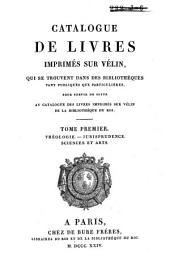 Catalogue des livres imprimés sur vélin de la bibliothèque du roi: Supplément