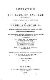 Commentaries on the Laws of England: In Four Books; with an Analysis of the Work, Volume 4