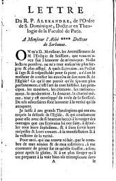 """Lettre du Révérend Père Alexandre... à Monsieur l'abbé xxx, docteur de Sorbonne, [au sujet des """"Avertissemens de M. l'évêque de Soissons""""]. (A Paris, le 27 janvier 1719)."""