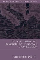The Constitutional Dimension of European Criminal Law PDF