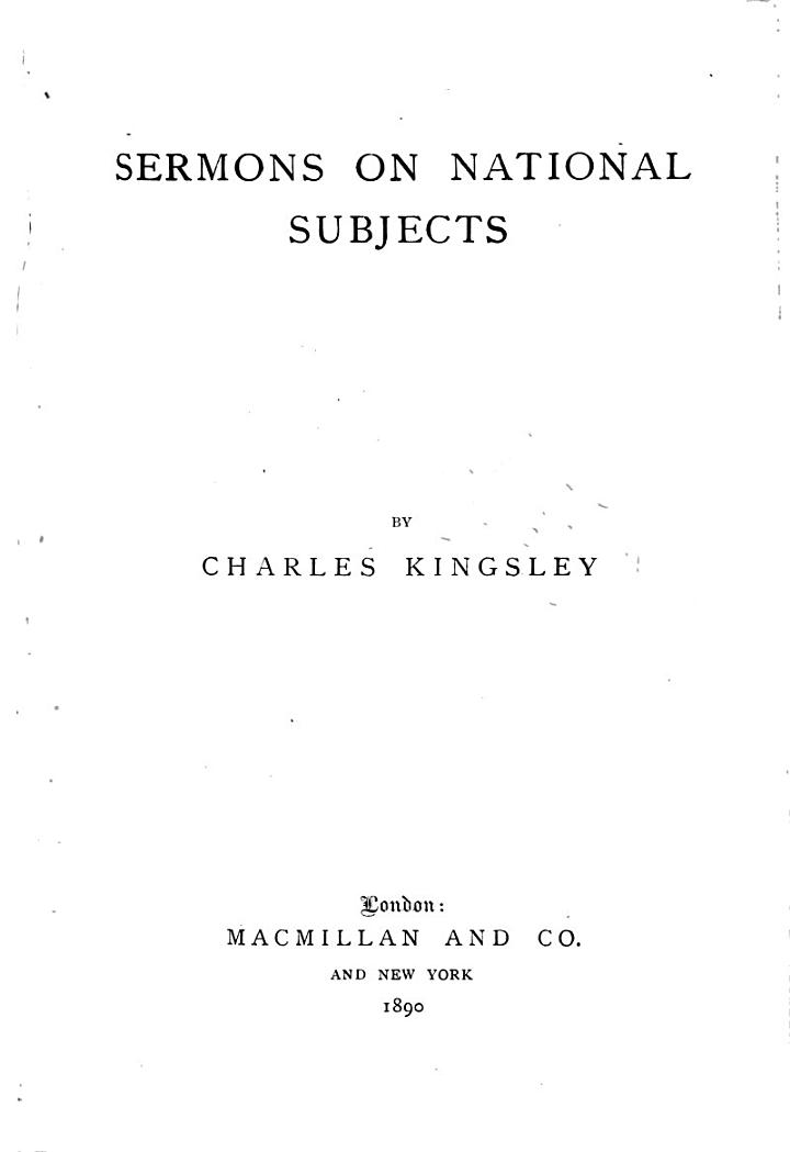 Collected Works of Charles Kingsley: Sermons on national subjects