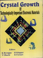 International School on Crystal Growth of Technologically Important Electronic Materials PDF