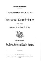 Annual Report of the Insurance Commissioner of Connecticut: Volume 27, Issue 1