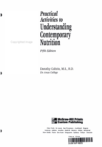 Practical Activities to Understanding Contemporary Nutrition