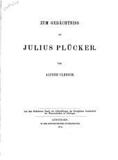 Zum Gedächtniss an Julius Plücker