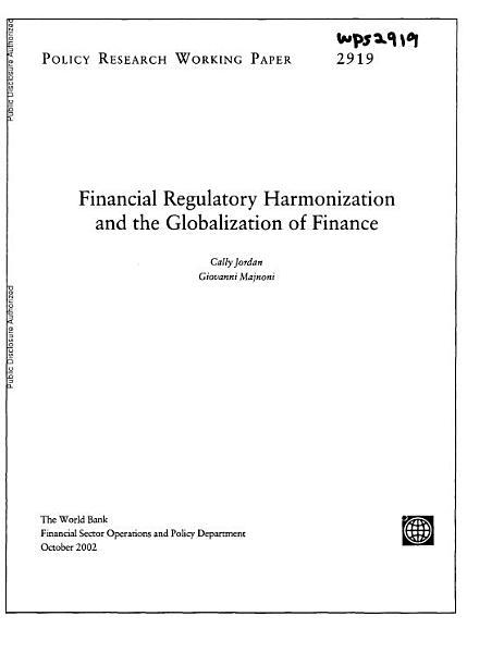 Financial Regulatory Harmonization and the Globalization of Finance PDF