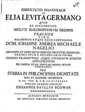 Diss. inaug. de Elia Levita Germano
