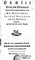 Hamlet  Prinz von D  nemark  Trauerspiel in 5 Aufz  nach dem Schakespear PDF