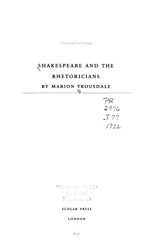 Shakespeare and the Rhetoricians