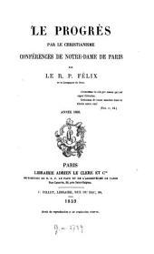 Le progrès par le christianisme: conférences de Notre-Dame de Paris, Volume4