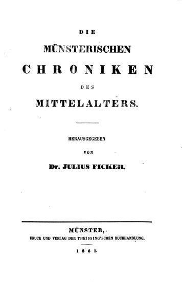 Die Geschichtsquellen des Bisthums M  nster PDF