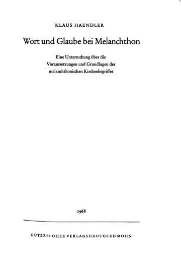 Wort und Glaube bei Melanchthon PDF