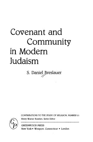 Covenant and Community in Modern Judaism