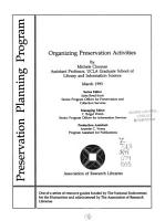 Organizing Preservation Activities PDF