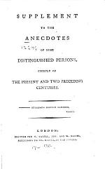 Supplement to the Anecdotes of Some Distinguished Persons