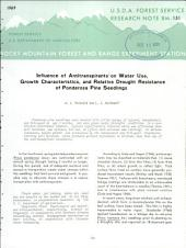 Influence of antitranspirants on water use, growth characteristics, and relative drought resistance of ponderosa pine seedlings