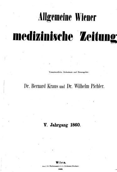 Allgemeine Wiener medizinische Zeitung PDF