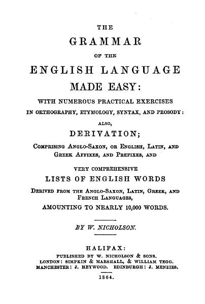 The grammar of the English language made easy PDF