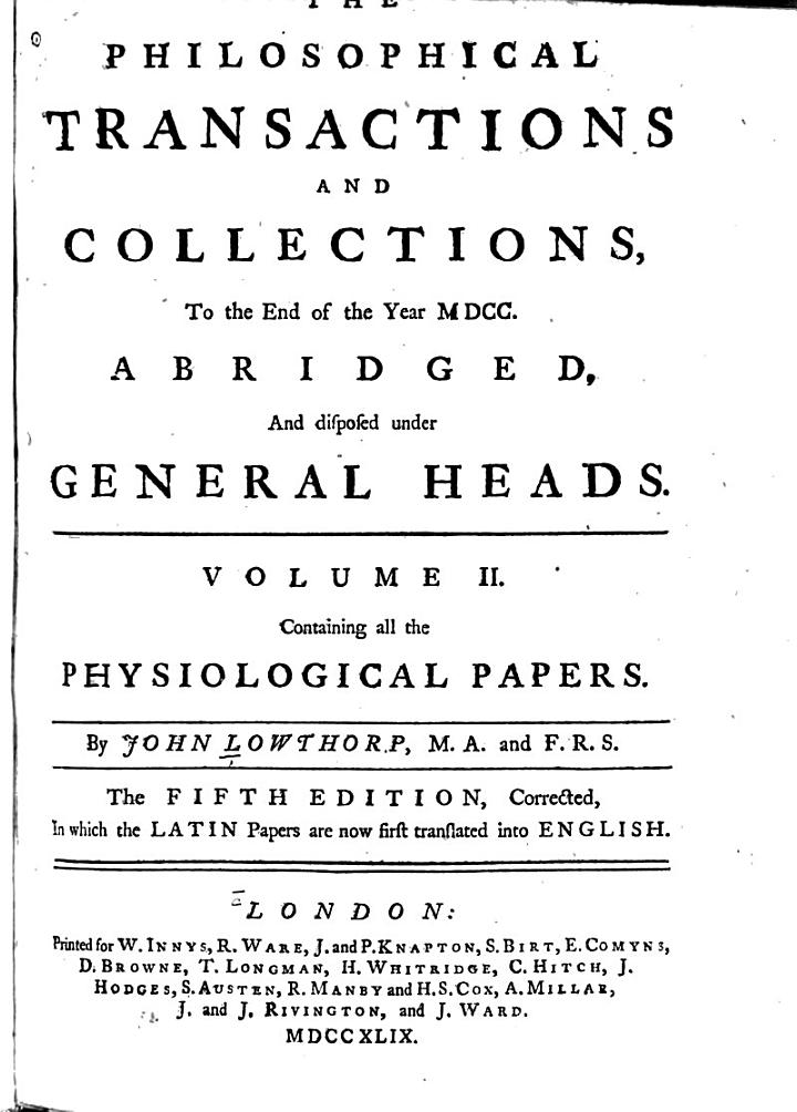 The Philosophical Transactions and Collections to the End of the Year MDCC, Abridged, and Disposed Under General Heads