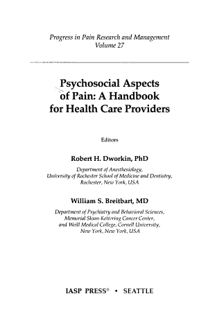 Psychosocial Aspects of Pain