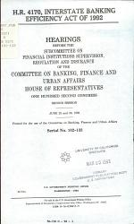 H.R. 4170, Interstate Banking Efficiency Act of 1992