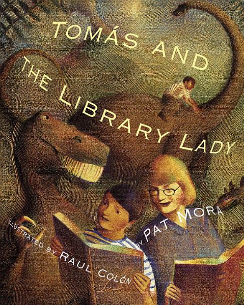 Book Cover, women in glasses and boy in stripped top standing side by side reading books, imagined dinosaurs behind them a boy rides one with a long neck