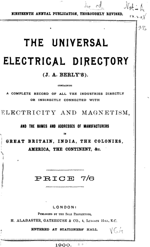 J A  Berly s Universal Electrical Directory and Advertiser PDF