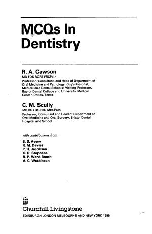 MCQs in Dentistry PDF