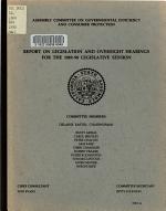 Report on Legislation and Oversight Hearings for the 1989 90 Legislative Session PDF