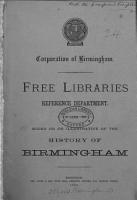 Books about  printed in  or illustrative of the history of Birmingham forming part of the reference department of Birmingham free library PDF