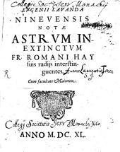 Notae astrum inextinctum Fr. Romani Hay suis radiis interstinguentes