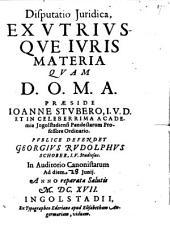 Disputatio Iuridica, Ex Utriusque Iuris Materia