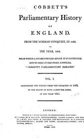 Cobbett's Parliamentary History of England: Volume 1
