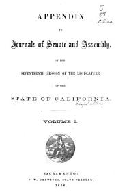 Appendix to the Journals of the Senate and Assembly: Volume 1