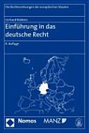 Einf  hrung in das deutsche Recht PDF