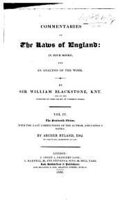 Commentaries on the Laws of England: In Four Books : with an Analysis of the Work, Volume 4