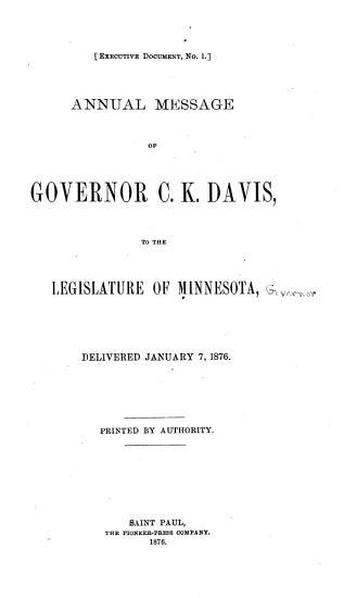 Annual Message of Governor C K  Davis to the Legislature of Minnesota PDF